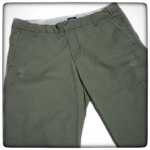 GAP Original Olive Green Ankle Boy Cut Khakis-6